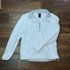 The North Face white fuzzy jacket